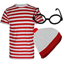 Global Fashion - Disfraz de Wally (camiseta de rayas rojas y blancas, gorro y gafas)