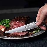 PAUDIN Steakmesser Set 4-teilig, hochwertige scharfe Messer Wellenschliff Steakmesser aus deutschem rostfreiem Edelstahl mit Ergonomischem Griff - 6