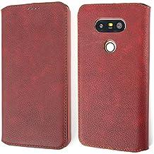 Etui LG G5, Coodio Premium Housse en Cuir, Housse LG G5, Coque de Protection avec emplacement de carte, Housse Portefeuille Pour LG G5,Rouge