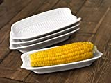 Set of 4 White Porcelain Corn on the Cob Dishes