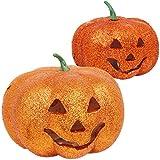 com-four® 2-teiliges Deko Halloween Kürbis-Set mit LED, glitzernde Kürbis-Dekoration, Windlicht mit Farbwechsel (002-teilig - Kürbis Glitzer 12 cm + 16 cm)