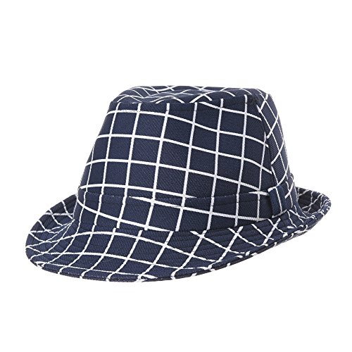 WITHMOONS Fedora Hut Bogarthut Mafiahut Plaid Lattice Check Fedora Hat Summer Havana Hat LD6589 (Navy) (Herren Plaid Fedora)