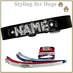 LEDASS92 C1 Hundehalsband mit Namen Strass Hund Halsband Name Buchstaben PU-Leder Hundenamen, 8 Farben, XS, S, M,L, XL, XXL