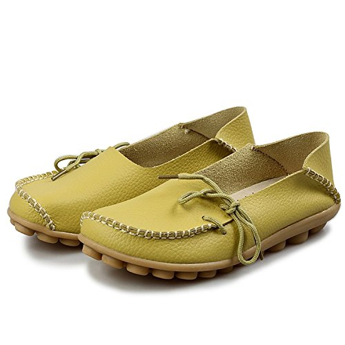 Damen Casual Mokassin Leder Loafers Fahren Schuhe Comfort Freizeit Flache Schuhe Slipper Flats chuhe Low-top Lederschuhe Erbsenschuhe Hellgrün