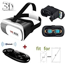 """3D VR Glasses, VinMas VR Headset 2.0 Version VR Google Cardboard 3D Virtual Reality Experience Adjustable for iPhone 6Plus 6s Samsung S6/S7 Edge / Note 5 / All 4.7 ~ 6.0"""" Smart Phones, Come with Bluetooth Remote Controller"""