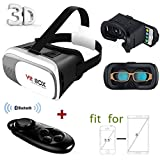 """3D VR Glasses, VinMas VR Headset 2.0 Version VR Google Cardboard 3D Virtual Reality Experience Adjustable for iPhone 6Plus 6s Samsung S6/S7 Edge / Note 5 / All 4.7 ~ 6.0"""" Smart Phones, Come with Bluetooth Remote Controller - VinMas - amazon.co.uk"""