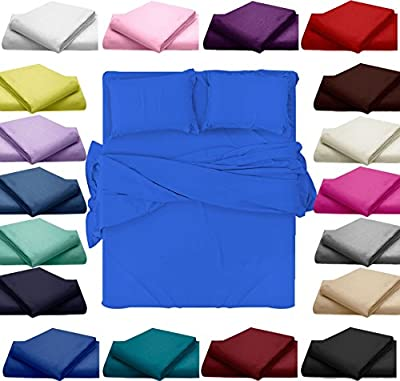 Plain Fitted Egyptian Cotton Polyester Bed Sheets Jersey Single Double King Mattress & Pillow Covers
