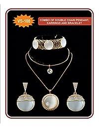 VS Collection Off-White Stone Spring Bracelet, Off-White Stone Double Chain Pendant, Off-White Stone Earrings...