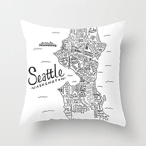 Seattle superbe Toile taies d'oreiller avec fermeture éclair Home Taie d'oreiller décoratif 45,7x 45,7cm