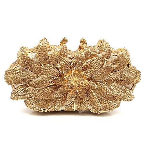 Lanbinxiang@ Damen Floral Modell Durchbrochene Diamond Solid Color Abendtasche Hochzeit Braut Kostüm Kupplung Metallkette Schulter Geldbörse Pu Brieftasche Größe: 20 * 6 * 14cm (Farbe : Gold)