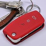Soft Case Schutz Hülle Auto Schlüssel FORD Focus Fiesta Ecosport S-Max Kuga C-Max Klappschlüssel Remote / Farbe: Rot