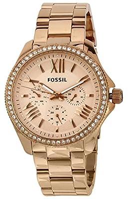 Fossil AM4483 de cuarzo para mujer con correa de acero inoxidable bañado, color rosa