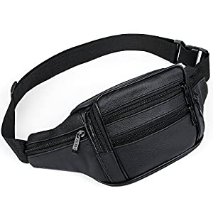 51nJ43UwhUL. SS300  - AirZyx waterproof bumbags and fanny packs leather for men women waist bag for men women outdoor sport running hiking