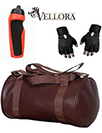 VELLORA Soft Leather Duffel Gym Bag (Brown) With Penguin Sport Sipper, Gym Sipper Water Bottle Color Black Red...