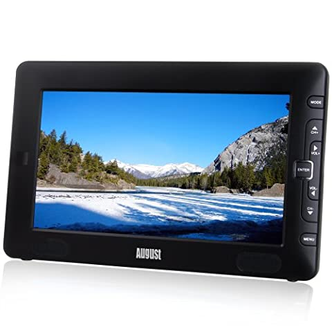 "August DTV905 – 9"" Portable Freeview TV – Small Screen LCD Television with Multimedia Player – Digital TV for Bedroom, Kitchen, Caravan… – Battery (Internal) or Mains"