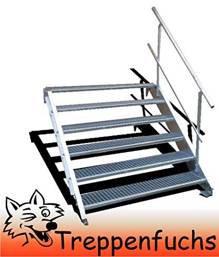 6 Stufen Stahltreppe mit einseitigem Geländer / Breite 60cm Geschosshöhe 90-120cm / Robuste Außentreppe / Wangentreppe / Stabile Industrietreppe für den Außenbereich / Inklusive Zubehör