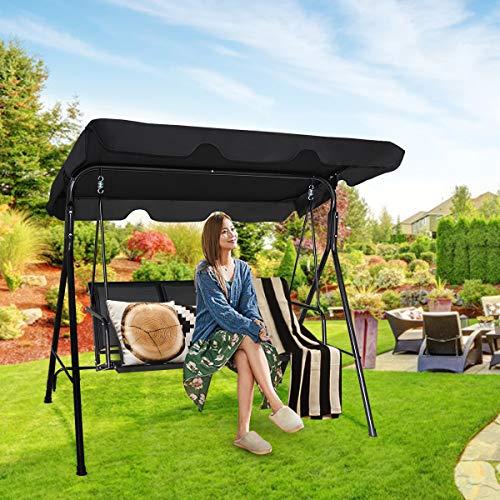 Costway Hollywoodschaukel Gartenschaukel Schaukelbank Gartenliege mit Sonnendach 3-Sitzer Farbwahl (Schwarz) - 6