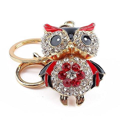 Wallybell Fashion Owl Refined Taste Alloy Rhinestone Keychain Key Ring Gift (Red)