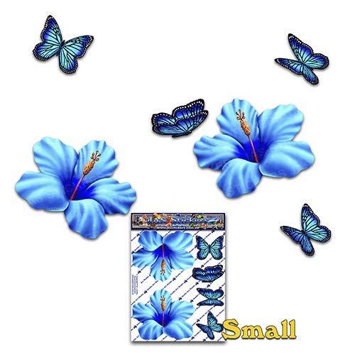 Blume Hibiskus Kleine Blau + Schmetterling Tier Kleinpackung Auto Aufkleber - ST00023BL_SML - JAS Aufkleber