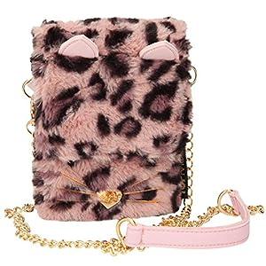 Depesche 10703 Smartphonetasche mit Kunstfell, TOPModel Leo, Mauve, ca. 18 x 11 x 3 cm, rosa