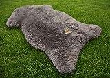 Lammfell Schaffell grau ökologisch gegerbt 90-100 cm echtes Fell