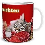 TRIOSK Tasse Katze Frohe Weihnachten mit Katzenmotiv und lustigem Weihnachtsmotiv Spruch