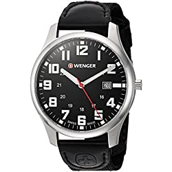 Wenger Men's 'City Active' Swiss Quartz Stainless Steel and Nylon Casual Watch, Color:Black (Model: 01.1441.112)