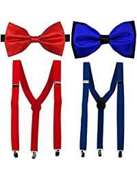 Red & Royal Blue Y-Back Suspender With Bow Tie Combo For Men
