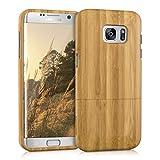 kwmobile Coque en bois véritable pour Samsung Galaxy S7 edge en bambou marron clair