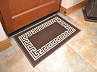 Brown Greek Key Non Slip Machine Washable Rug. Available in 7 Sizes from Rugs Supermarket