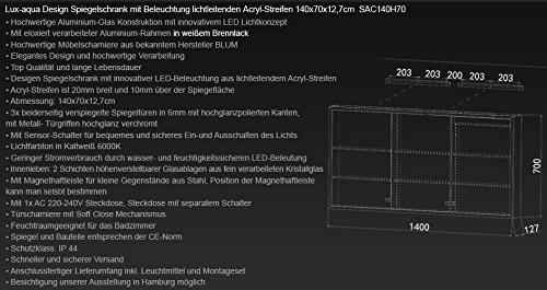 Spiegelschrank LED Bad Blum, 140 cm - 6