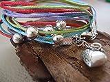 ♥ BRACCIALE RAINBOW ARGENTO COLORE ♥ Bracciale realizzato con nastri colorati e argento