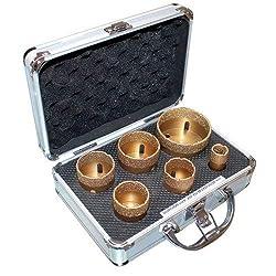 Bohrkronen Set 50234 Gold Trockenbohrkronen mit 6 Bohrkronen Ø 20, 35, 38, 43, 50, 68 mm Profi Diamantbohrkronen Fliesenbohrkronen im Transportkoffer