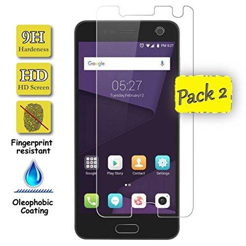 Funnytech® [Pack-2 Schutzfolie für ZTE Blade V8 (Nicht Bildschirm Decken) l Displayschutz aus Panzerglas, Kanten 2.5D, 9H Härte, 0,3 mm Stärke -