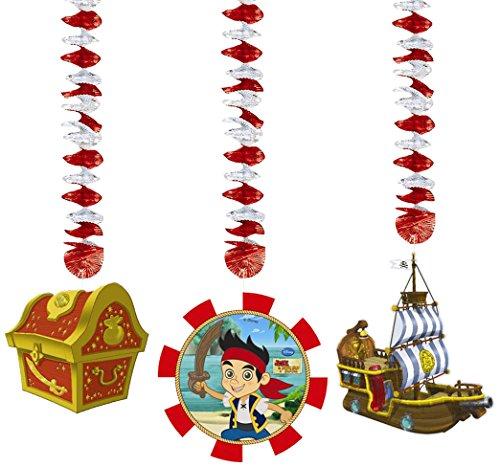 Disney Zum Aufhängen Yo Ho Jake und die nie Land Piraten Party Dekorationen, 3Stück
