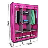 #5: Willsbury Designer Portable Clothes Closet Non-Woven Fabric Wardrobe Double Rod Storage Organizer Marron