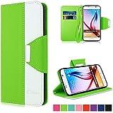 Galaxy S6 Hülle, Vakoo Bookstyle Handyhülle Premium PU-Leder Brieftasche Tasche Hülle für Samsung Galaxy S6 / S6 Duos (Grün Weiss)