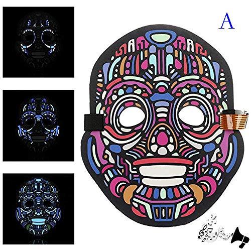 Sound Reaktive LED Halloween Masken,Saingace Sound Reactive LED Maske Tanz Rave Licht Einstellbare Maske Für Festival,Cosplay,Halloween,Kostüm,Batterie Angetrieben (E)