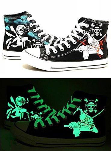 Telacos One Piece Anime Zoro Iwabuchi Cosplay Schuhe Leinwand Schuhe Sneakers Luminous 3Choices, Damen, ()
