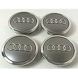 Embleem voor lichtmetalen wielen 4B0601170A, grijs, 69 mm, voor S3 S4 A2 A3 A4 A6 A8 TT RS4 Q5 Q7 S3 S4 A6 S6 RS6 TT en andere modellen, 4 stuks