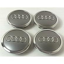 Juego de chapas de 4Audi aleación rueda central tapacubos gris 69mm 4B0601170A S3S4A2A3A4A6A8TT, RS4, Q5, Q7, S3S4A6S6RS6, TT, y otros modelos