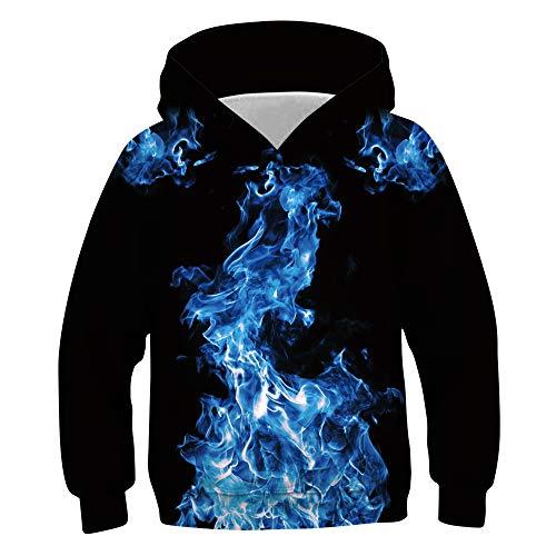 Idgreatim Jugend Hoodies Pullover Neuheit 3D Löwe Mit Kapuze Pullover Damen Taschen Sweatshirts M - Jugend Hoody Sweatshirt