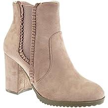 Angkorly - Zapatillas Moda Botines chelsea boots cavalier mujer trenzado Tacón ancho alto 8.5 CM