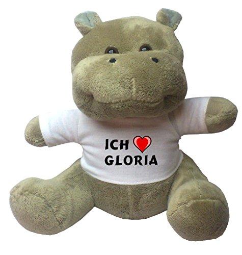 (Nilpferd Plüschtier mit Ich liebe Gloria T-Shirt (Vorname/Zuname/Spitzname))
