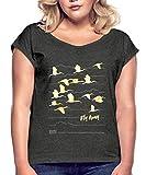 Spreadshirt Animal Planet Kraniche Zugschwarm Fly Away Frauen T-Shirt mit gerollten Ärmeln