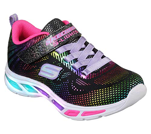 Skechers litebeams-gleam n'dream, sneaker bambina, nero (black/multi bkmt), 34 eu