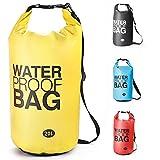 Sacca Impermeabili Borsa Waterproof , Borse Impermeabili Dry Bag con Tracolla Regolabile, , per Attività all'Aperto e Sport d'Acqua Nave, Trekking, Kayak, Canoa, Pesca, Rafting, Nuoto, Campeggio, Sci(Giallo, 20L)