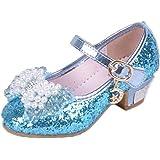 Frbelle Merceditas Princesa Zapatos de Vestir para Niñas Brillantes con Tacón Bajo Fiesta Bailarina 3 a 12 años