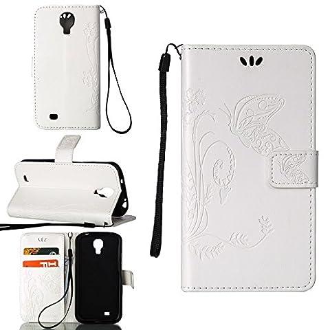 Hülle für Samsung Galaxy S4 Mini (i9190) 4.3 zoll, Owbb Schmetterling Blumen Muster Handyhülle PU Ledertasche Flip Cover Wallet Case mit Stand Function Innenschlitzen Design Weiß