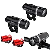 QHJ LED Fahrradbeleuchtung Set,Fahrradlampen,Fahrradlicht,Fahrradlampenset,Fahrradlicht Frontlicht & Rücklicht Fahrradlichter Set | Helle LED | Energiesparend | Regen Und Stoßfest,Modus: 2 Modi